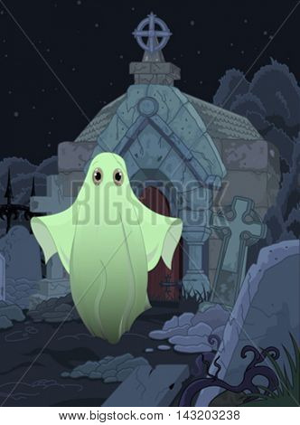 Halloween illustration of cute ghost on cemetery background