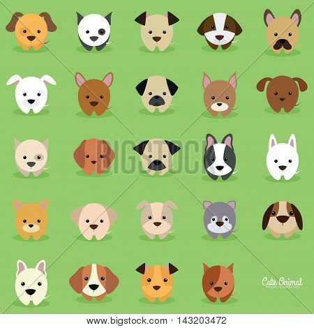 Cute cartoon dogs on a green background