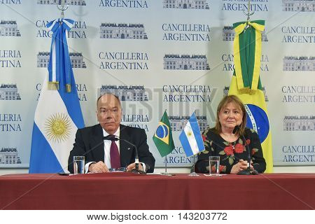 Buenos Aires Argentina - January 14 2016: Argentine Foreign Minister Susana Malcorra and Brazil's Foreign Minister Mauro Vieira hold a press conference after their meeting in Buenos Aires.