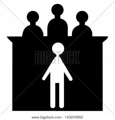 Vector illustration silhouette of superiors and subordinates. The defendant and the judge.