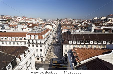 LISBON, PORTUGAL - September 28, 2015: Cityscape from the lookout on top of the Augusta Street Arch in Lisbon Portugal. Features the pedestrian shopping Augusta Street, on September 28, 2015 in Lisbon, Portugal