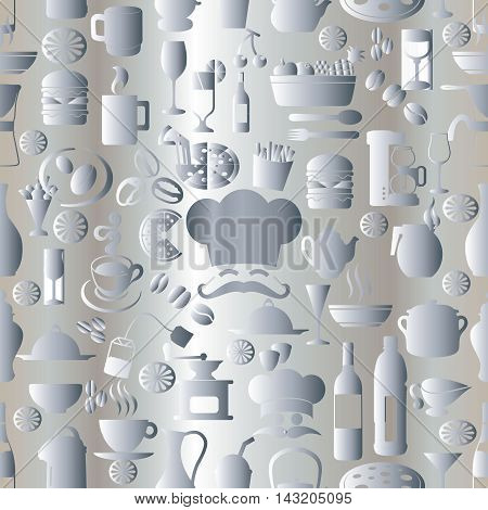 Light white elegant modern vector seamless pattern background with volumetric cafe restaurant cook symbols, signs and icons. Stylish luxury 3d elements with shadows and highlights. Endless texture.