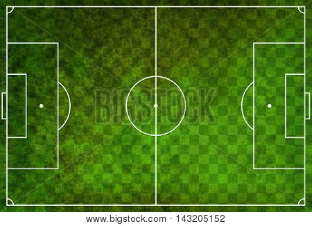 A textured grunge soccer football field with checkered pattern.