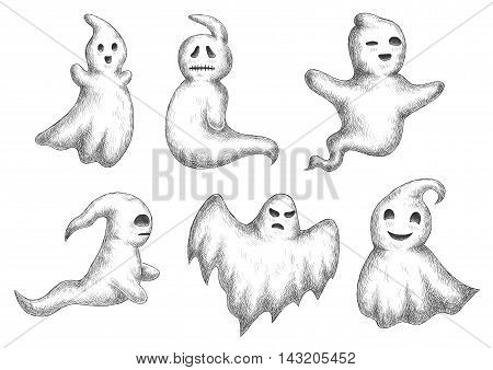 Cartoon halloween funny ghosts icons. Sketch vector characters of cute and scary spooks and bogeys with face expressions for decoration