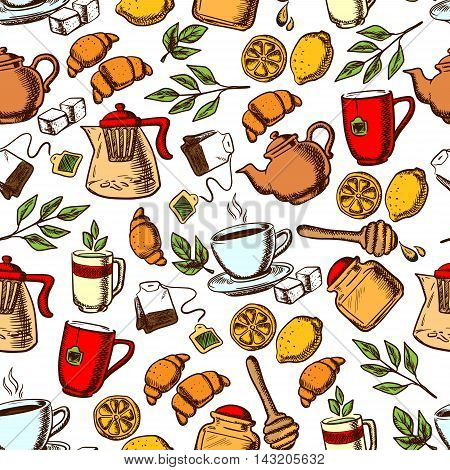 Teatime seamless background. Wallpaper with vector pattern icons of tea, dessert, sweets, teapot, croissant, cup, honey sticks, lemon, sugar tea leaves