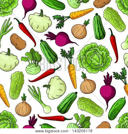 Vegetables seamless background. Wallpaper with pattern of fresh farm vegetarian food cucumber, napa, cabbage, beet, onion, squash, zucchini, kohlrabi for grocery store, food market, restaurant, menu shop