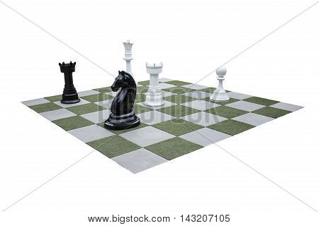 Chessboard and chess pieces in the garden, isolated on white background.