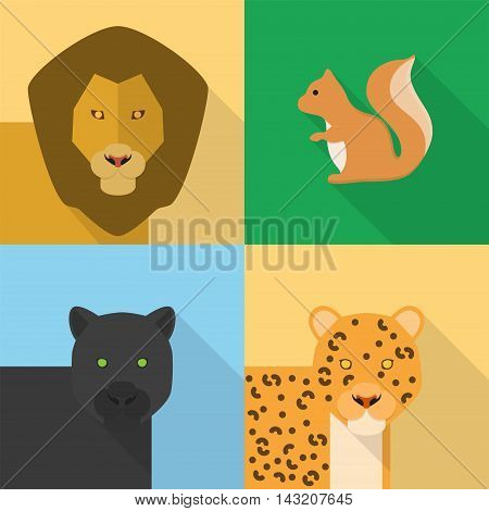 Animals   Set of great flat icons with style long shadow icon and use for animals.