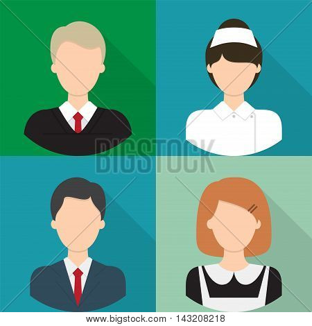 Avatar | Set of great flat icons with style long shadow icon and use for avatar, people, job, profession.