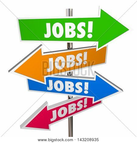 Jobs Careers Open Positions Hiring Signs Words 3d Illustration