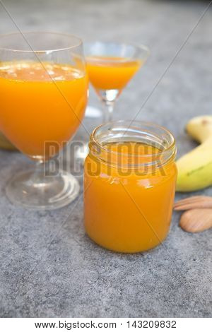 Freshly squeezed orange juice in glass close-up