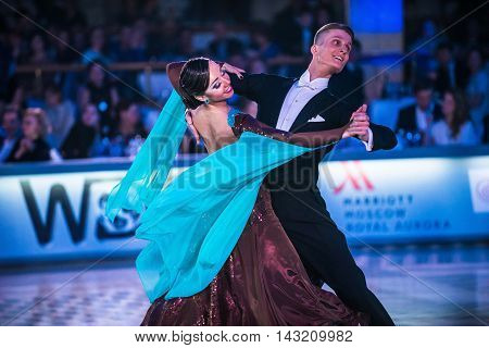Moscow Russia - Apr 26 2015: Unidentified couple perform at the ballroom dance event at the 2015 Open European Professional Latin-American Championship.