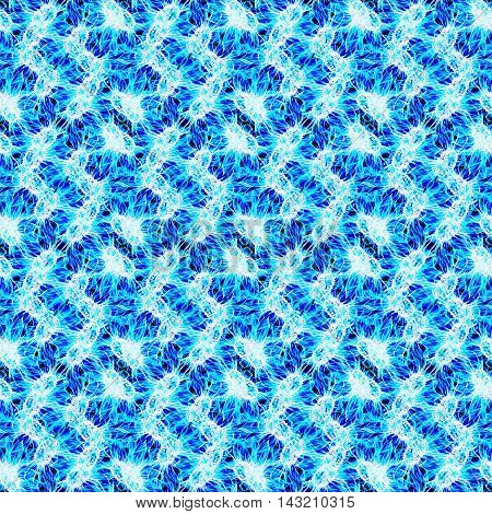 Navy blue neon cyan floral macro microbe seamless pattern background