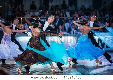 Moscow Russia - Apr 26 2015: Unidentified couples perform at the ballroom dance event at the 2015 Open European Professional Latin-American Championship.