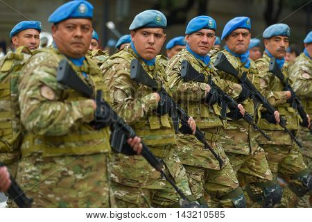 Buenos Aires Argentina - Jul 11 2016: Argentine army forces at the military parade during celebrations of the bicentennial anniversary of Argentinean Independence day.