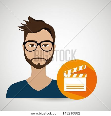 man movie video theater vector illustration graphic