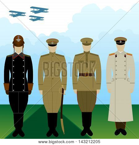 Military pilots Russia in uniform against the background of military aircraft. The illustration on a white background.