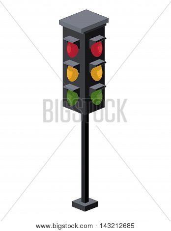 traffic light isometric icon vector illustration design