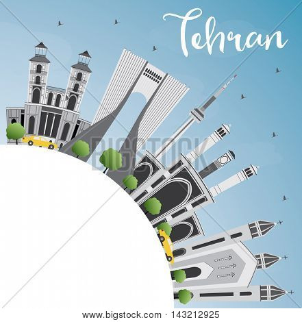 Tehran Skyline with Gray Landmarks, Blue Sky and Copy Space. Vector Illustration. Business Travel and Tourism Concept with Historic Buildings. Image for Presentation Banner Placard and Web Site.