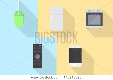 Electronics   Set of great flat icons with style long shadow icon and use for electronics, computer, equipment, interior and much more.