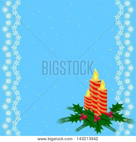 Lace background with spruce twig, holly and candles against the background of falling snow.