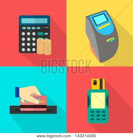 Finance and Banking | Set of great flat icons with style long shadow icon and use for finance, banking and much more.