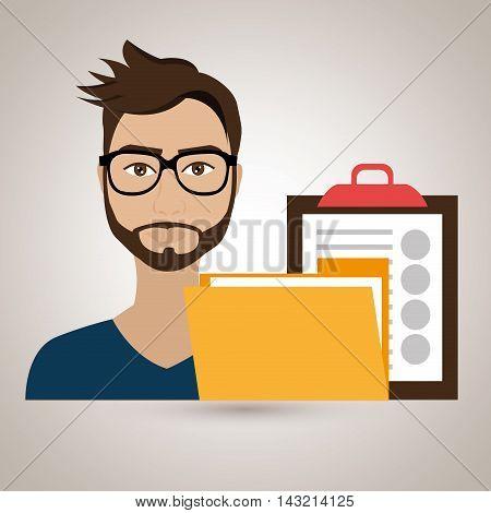 man clipboard folder file vector illustration graphic