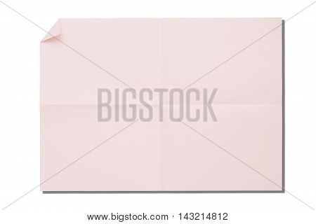 Closeup the pink crumpled paper with shadow isolated on white background.