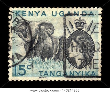 KENYA, UGANDA AND TANGANYIKA - CIRCA 1954: a stamp printed in East African postal Union (Kenya, Uganda, Tanganyika) showing image of a elephant with spears and shield, circa 1954