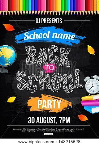 Back to school party poster template. Vector illustration
