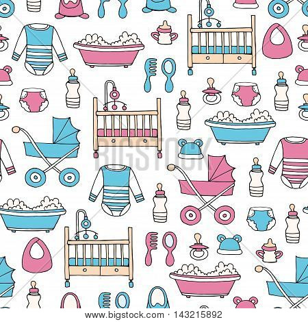 Vector seamless pattern with hand drawn colored symbols of baby girl and baby boy. Pattern on the theme of newborn babies. Background for use in design, packing, web site, fabrics