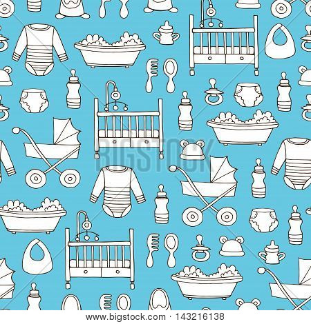Vector seamless pattern with hand drawn symbols of baby boy on blue color. Pattern on the theme of newborn babies. Background for use in design, packing, web site, fabrics