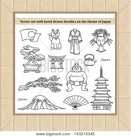 Vector set with hand drawn isolated doodles of Japanese symbols. Flat illustrations on the theme of Japan travel tourism. Sketches for use in design, web site, packing, textile, fabric