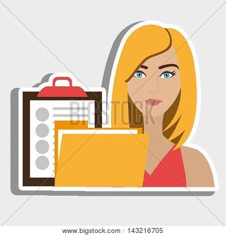 woman clipboard folder file vector illustration graphic