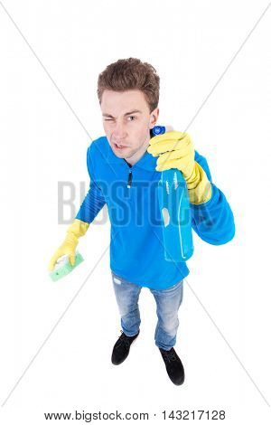 front view of a houseowner in gloves with sponge and detergent. man watching. Rear view people collection.  backside view of person.  Isolated over white background. Top view of the cleaner.