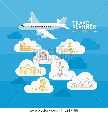 Travel Planner Around The World. Airplane with cloud and landmark icons. Vector illustration.