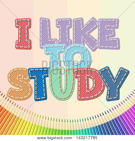 Vector colorful jeans text I like to study