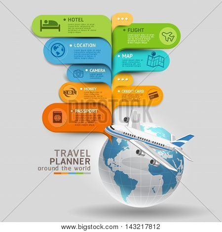 Travel Planner Around The World. Vector illustration.