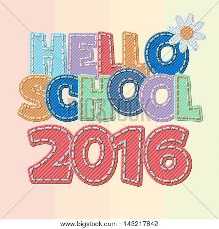 Vector colorful jeans text Hello school 2016