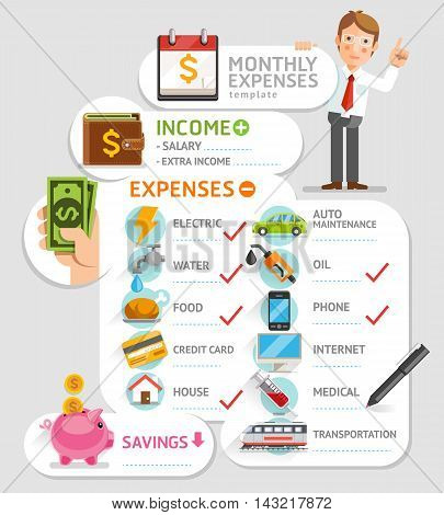 Monthly expenses template. Vector illustration. Can be used for workflow layout banner diagram number options web design infographics timeline.