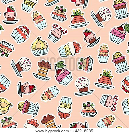 Vector seamless pattern with hand drawn colored cupcakes. Pattern on the theme of food desserts pastry-shop. Background for use in design, packing, web site, fabric