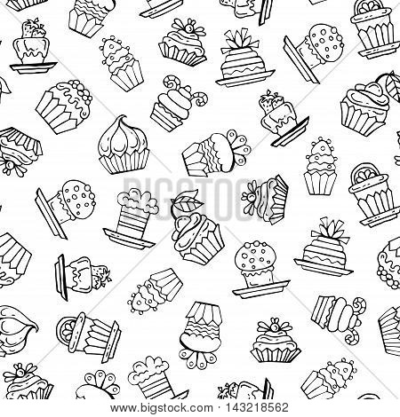 Vector seamless pattern with hand drawn isolated cupcakes on white color. Pattern on the theme of food desserts pastry-shop. Background for use in design, packing, web site, fabric