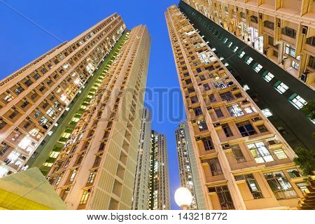Residential building to the sky at night