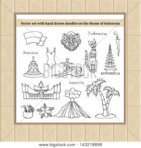 Vector set with hand drawn isolated doodles of Indonesia. Flat illustrations on the theme of travel tourism symbols of Indonesia. Sketches for use in design, web site, packing, textile, fabric