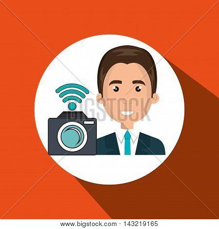 man camera photo photography vector illustration eps 10