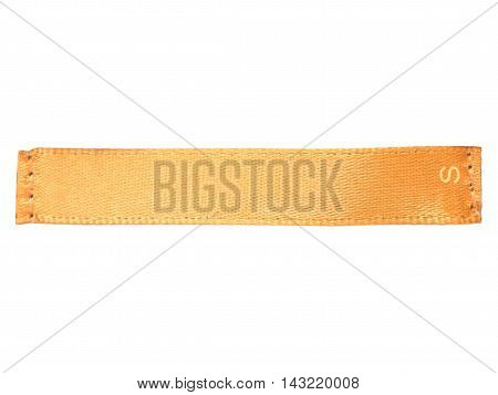 Blank orange clothes silk label with S size - isolated on white background