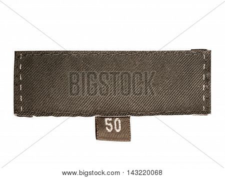 Blank dark clothes label of 50 size - isolated on white background