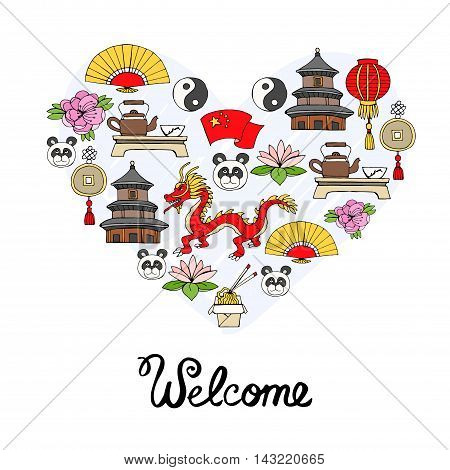 Stylized heart with hand drawn colored symbols of China. Illustration on the theme of travel and tourism. Vector for use in design