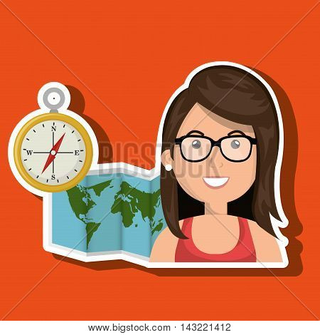 woman map world global travel vector illustration eps 10