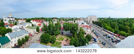 VITEBSK BELARUS - JULY 13 2016: Panoramic view from above on Lenin and Suvorov Street and Holy Dormition Cathedral Vitebsk Belarus